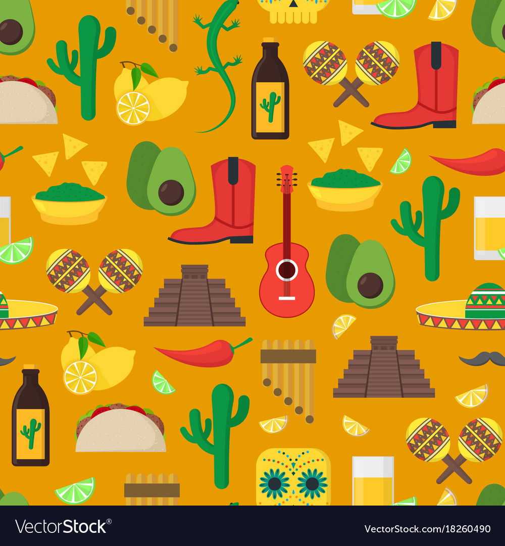 Cartoon mexican culture background pattern