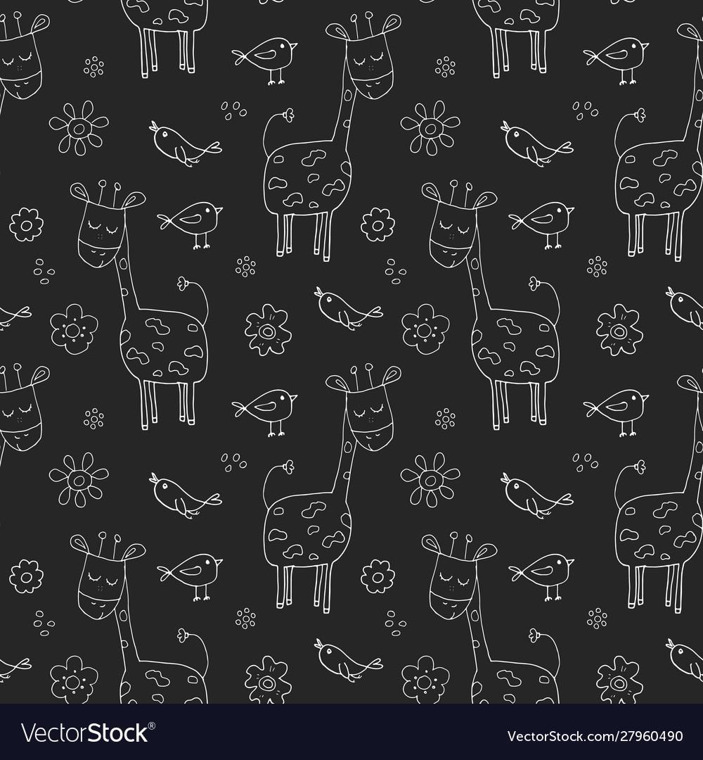 Cute giraffe seamless pattern cartoon hand drawn