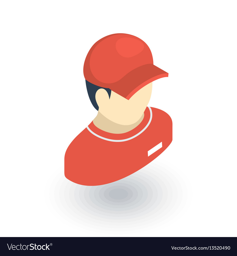 Delivery man in red uniform courier isometric vector image