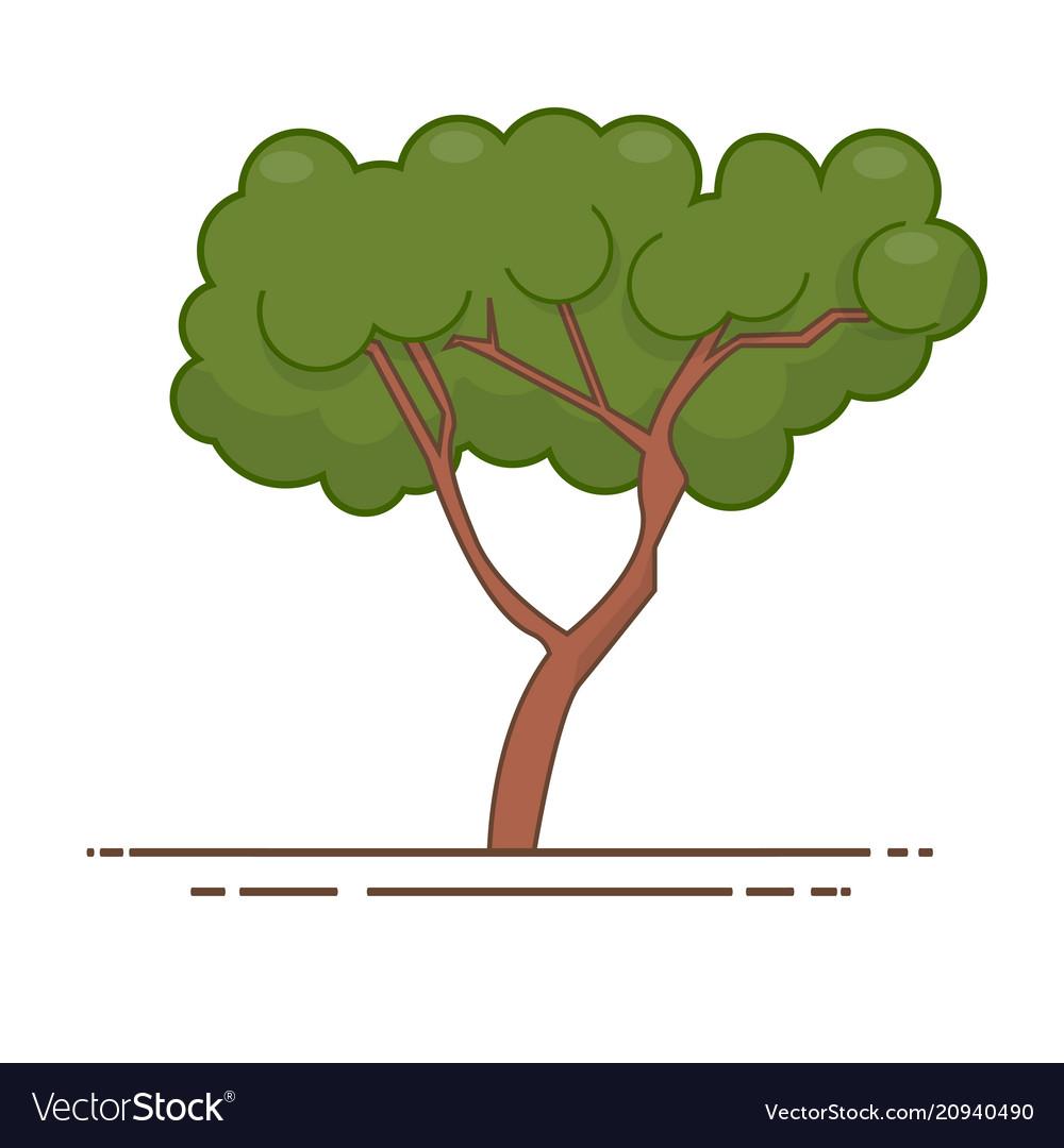 Green tree icon line color nature symbol Vector Image
