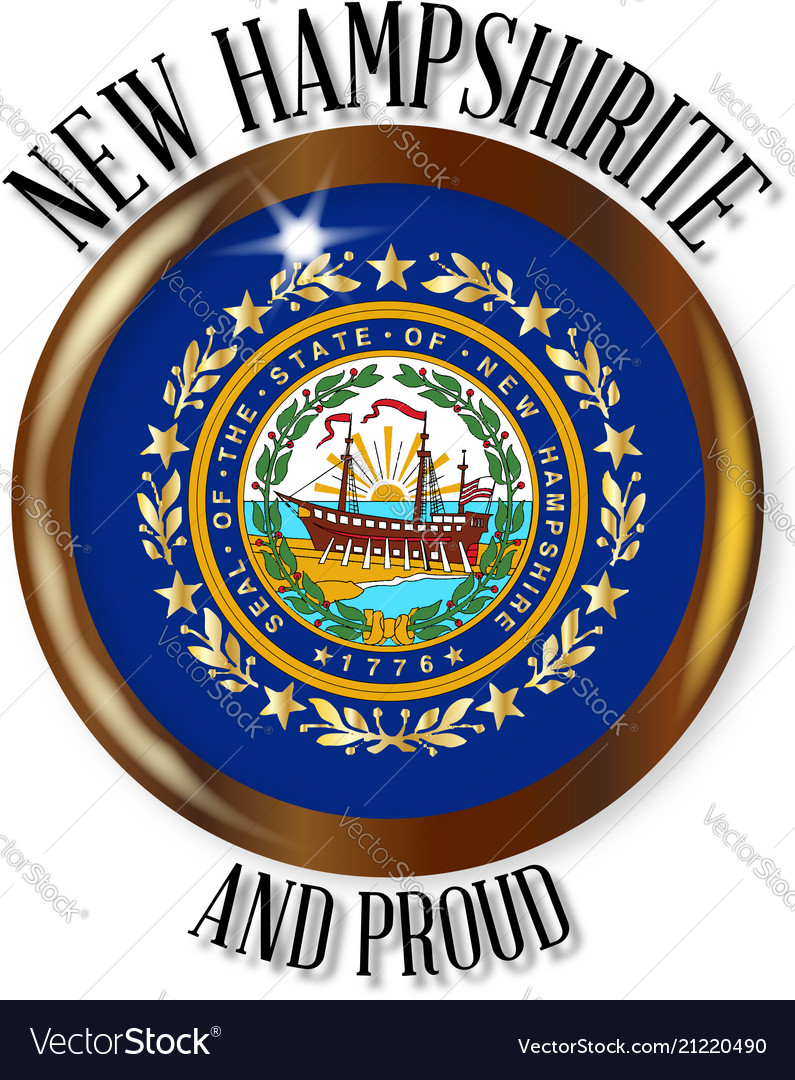 New Hampshire Proud Flag Button Royalty Free Vector Image
