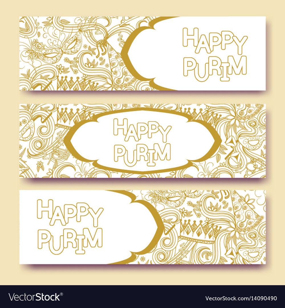 Purim golden banners collection