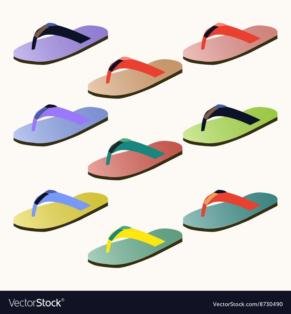 08f9ea041036 Set of colorful flip flops Royalty Free Vector Image