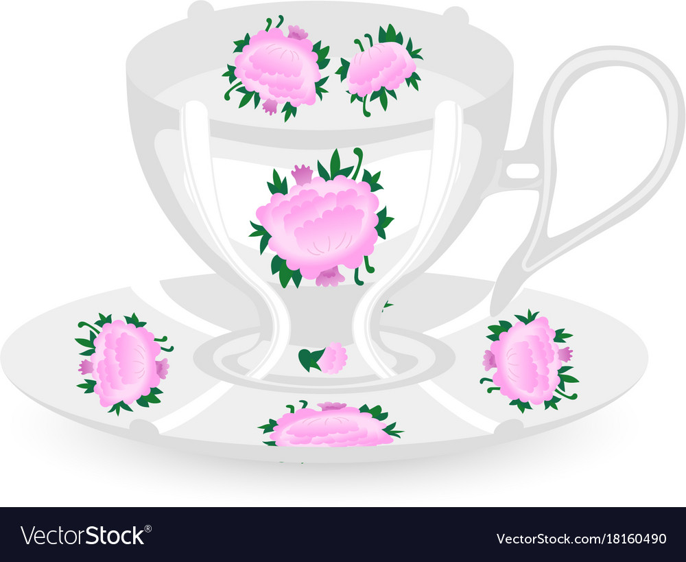 White ceramic cup with saucer cup for tea