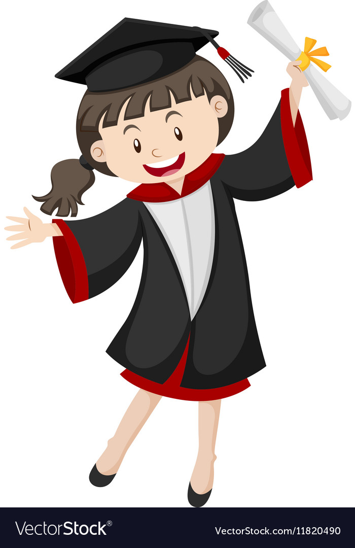 Woman in graduation gown and certificate Vector Image