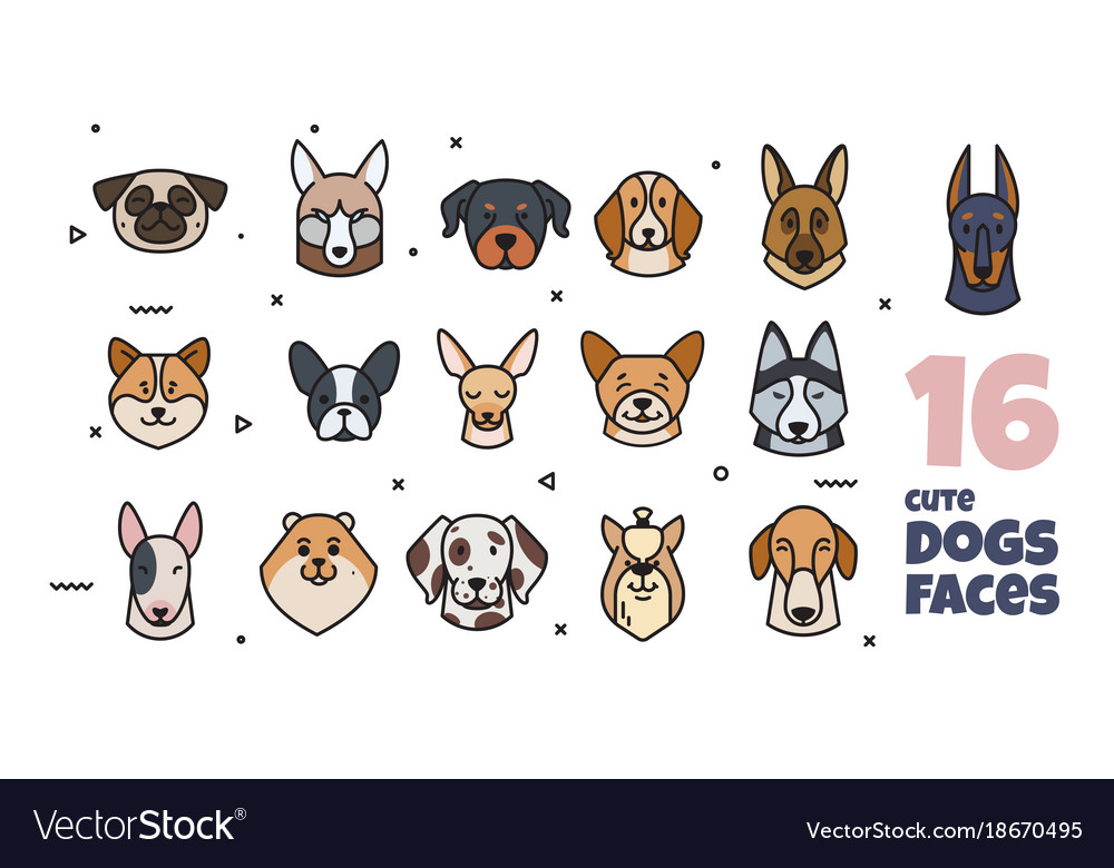 A set of stickers with different dog muzzles
