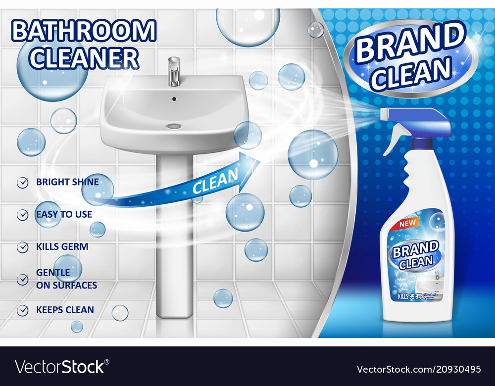 Bathroom Cleaners Ad Poster Spray Bottle Mockup Vector Image - Spray bathroom cleaner