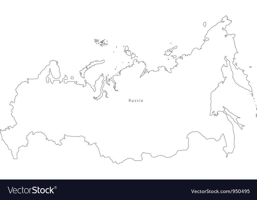 Black White Russia Outline Map Royalty Free Vector Image