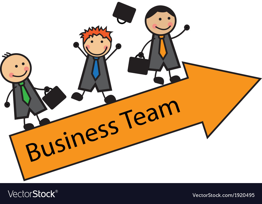 Cartoon business team on an arrow vector image