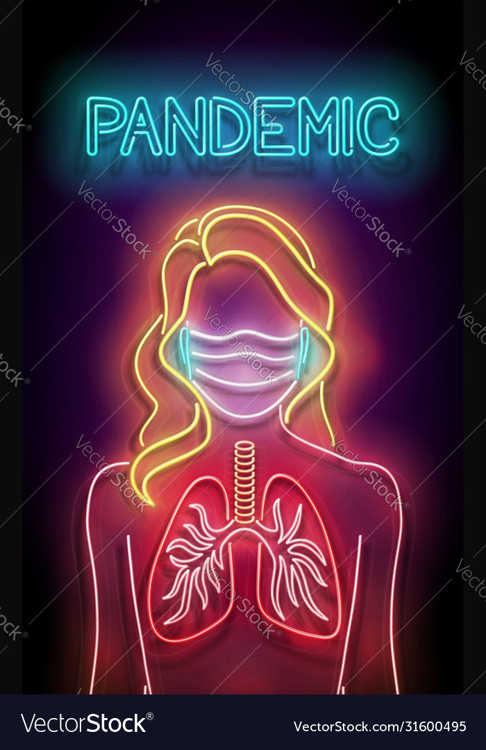 Glow female silhouette with lungs and face mask