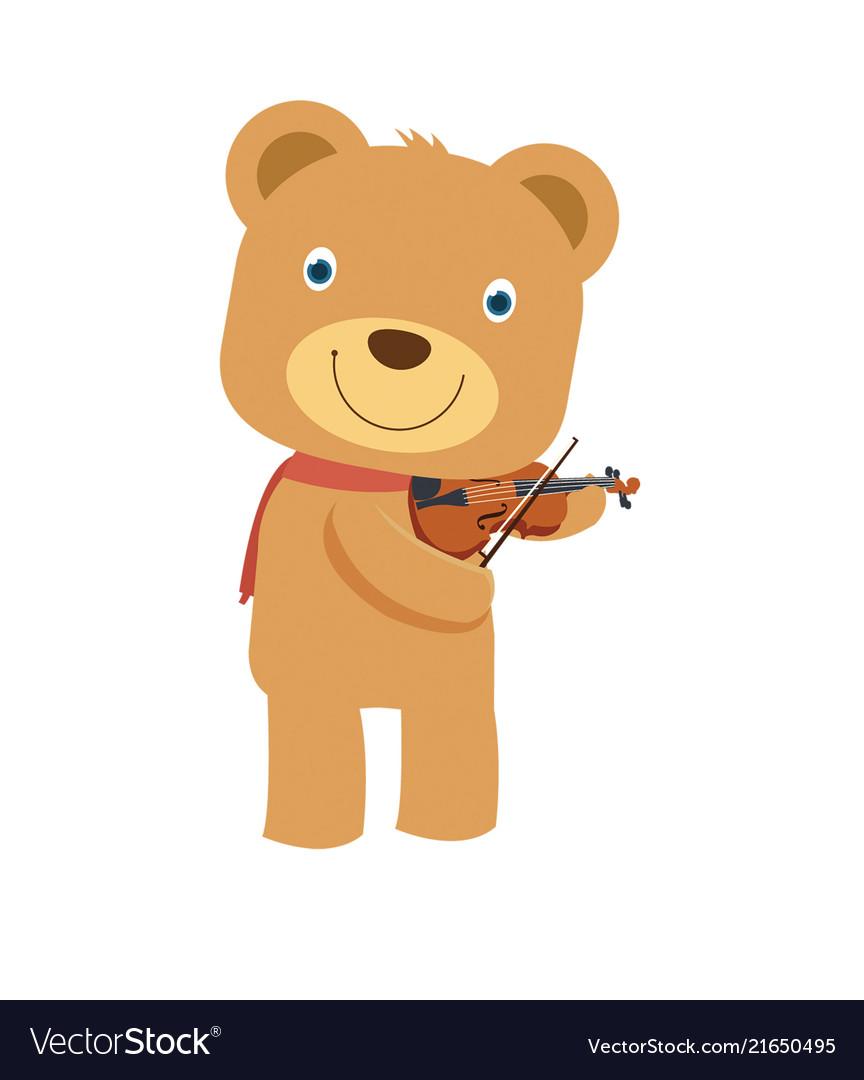 7bbfacce9 Happy cute brown teddy bear playing violin in Vector Image