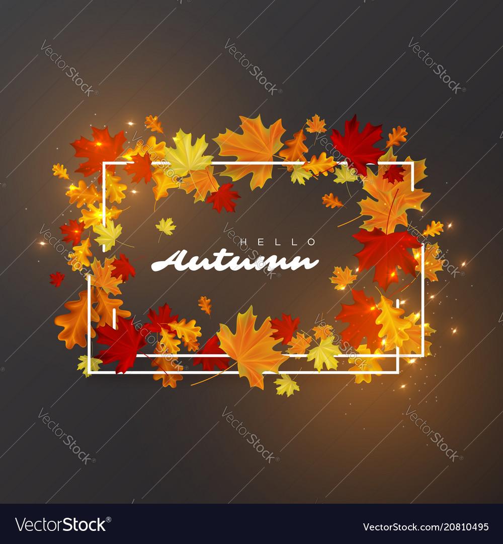Hello autumn leaves background
