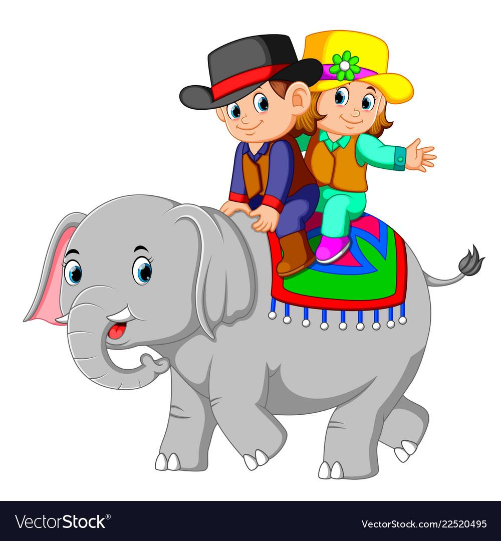 Kids ride cute elephants happily