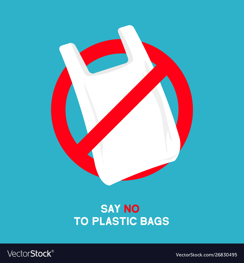 No plastic bags sign concept stop
