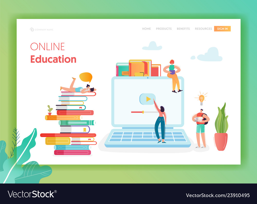Online education concept landing page template