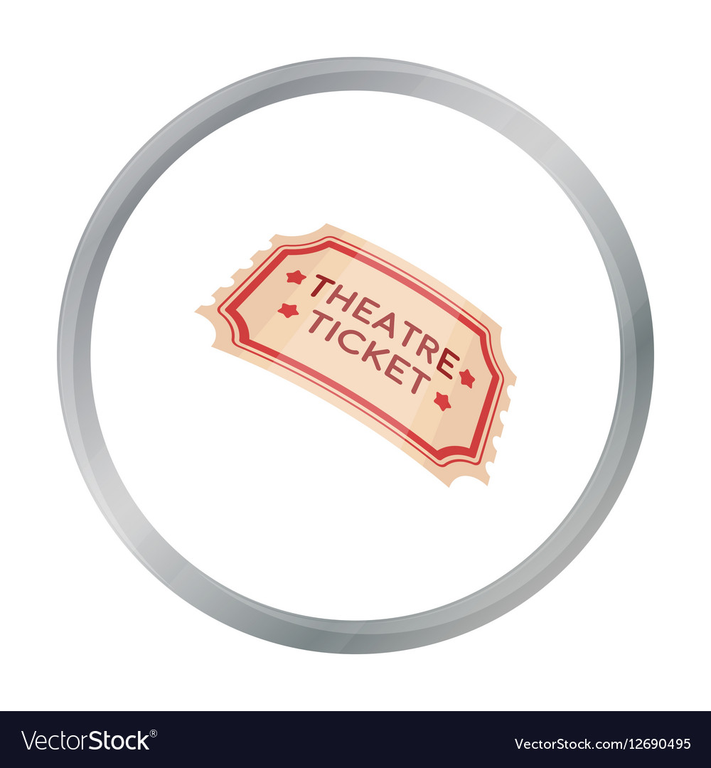Theatre ticket icon in cartoon style isolated on