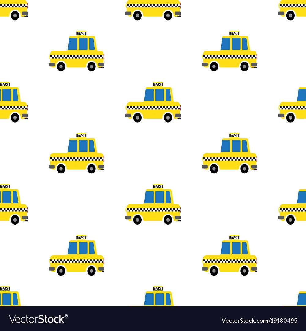 Yellow cartoon taxi seamless pattern