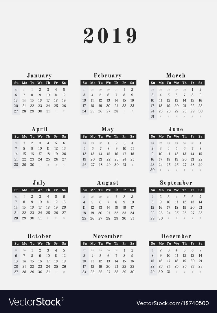 2019 year calendar vertical design vector image