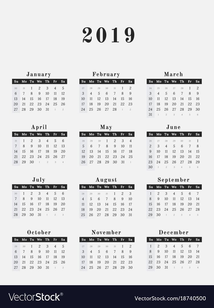 2019 year calendar vertical design vector image