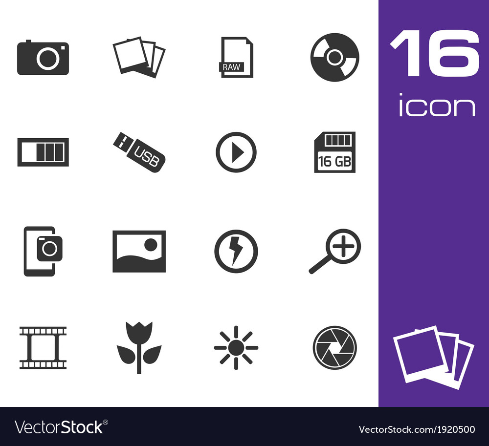 Black photo icon set