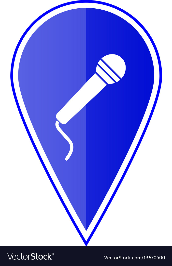 Blue map pointer with microphone