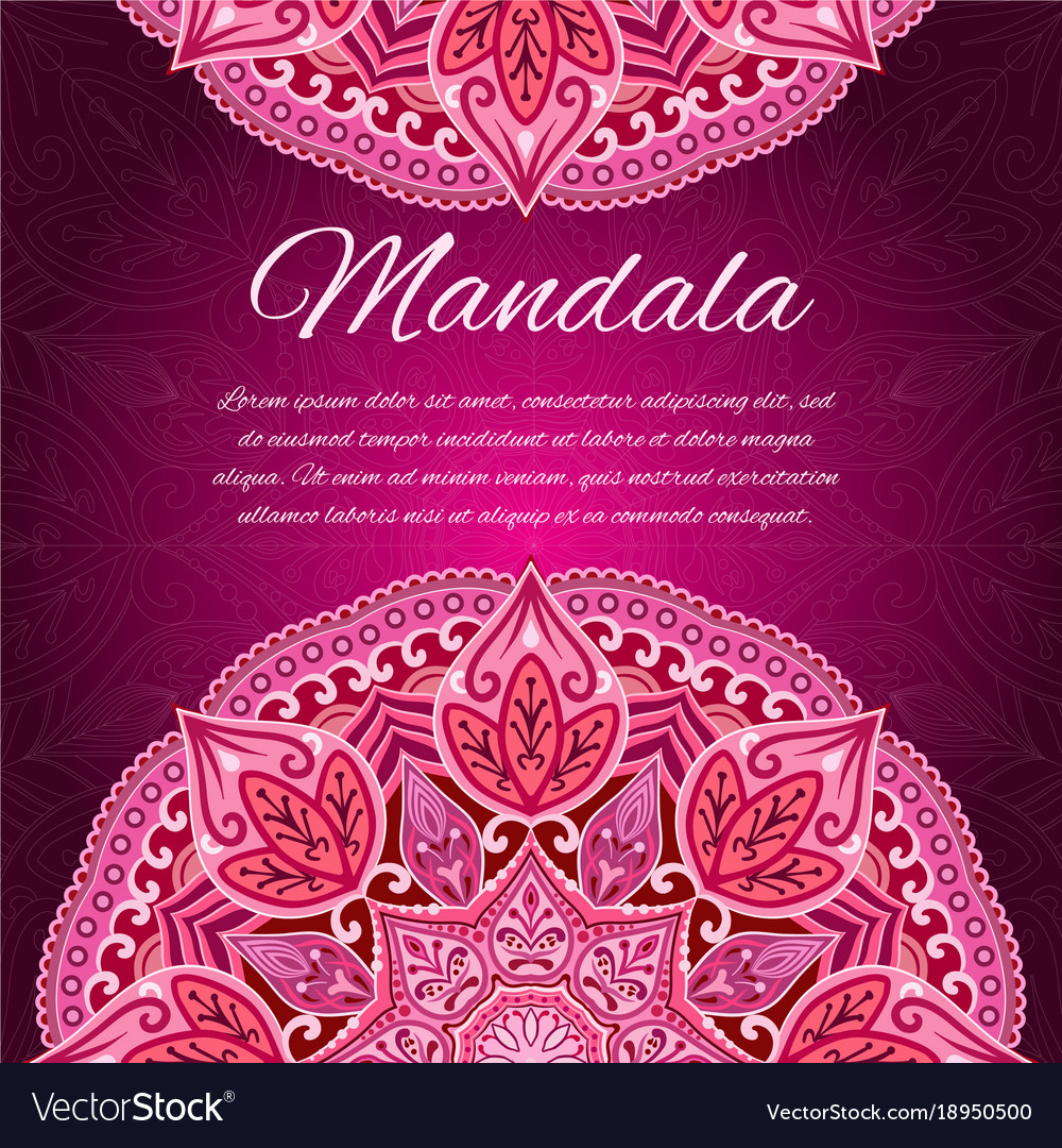 Card with mandala red wedding circle element