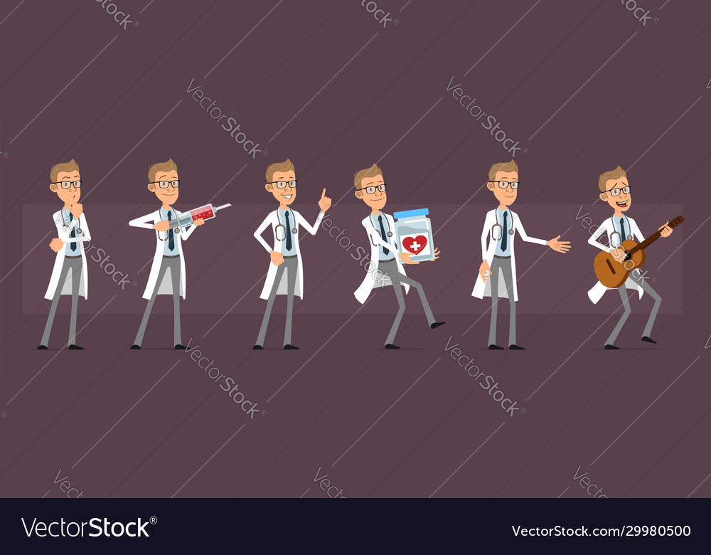 Cartoon doctor or scientist character set