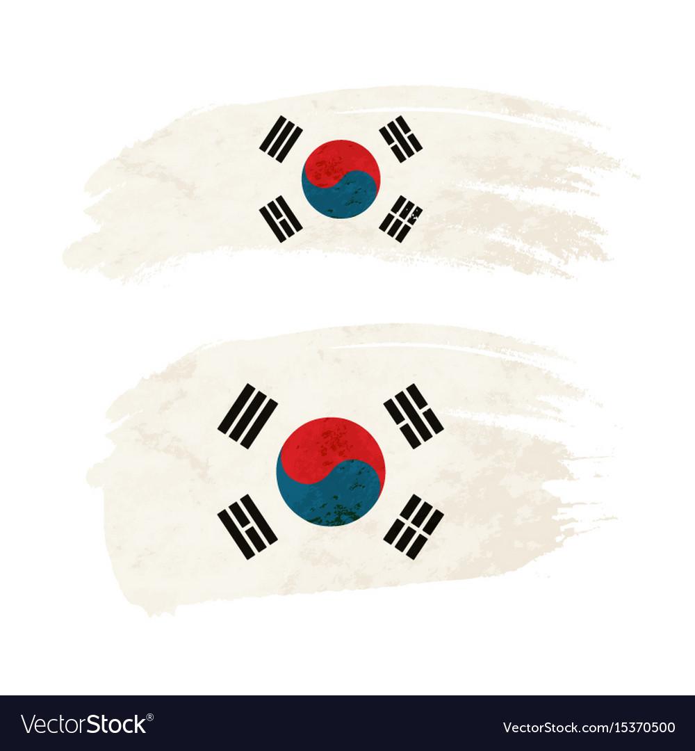 Grunge brush stroke with south korea national flag