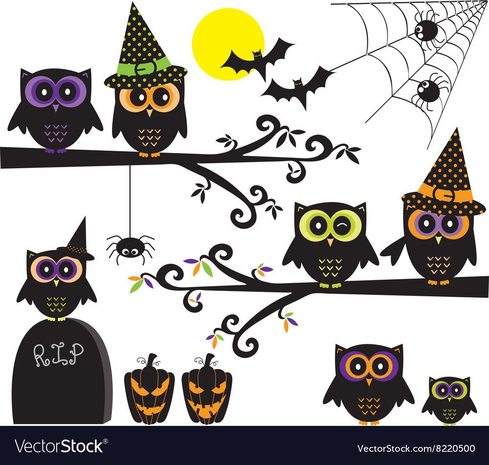Halloween Owls collections Happy Halloween element
