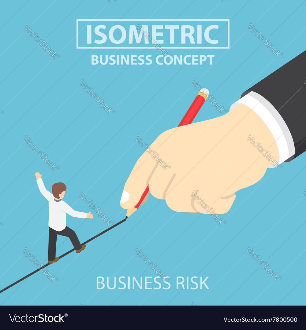 Isometric businessman walking on drawn line vector image