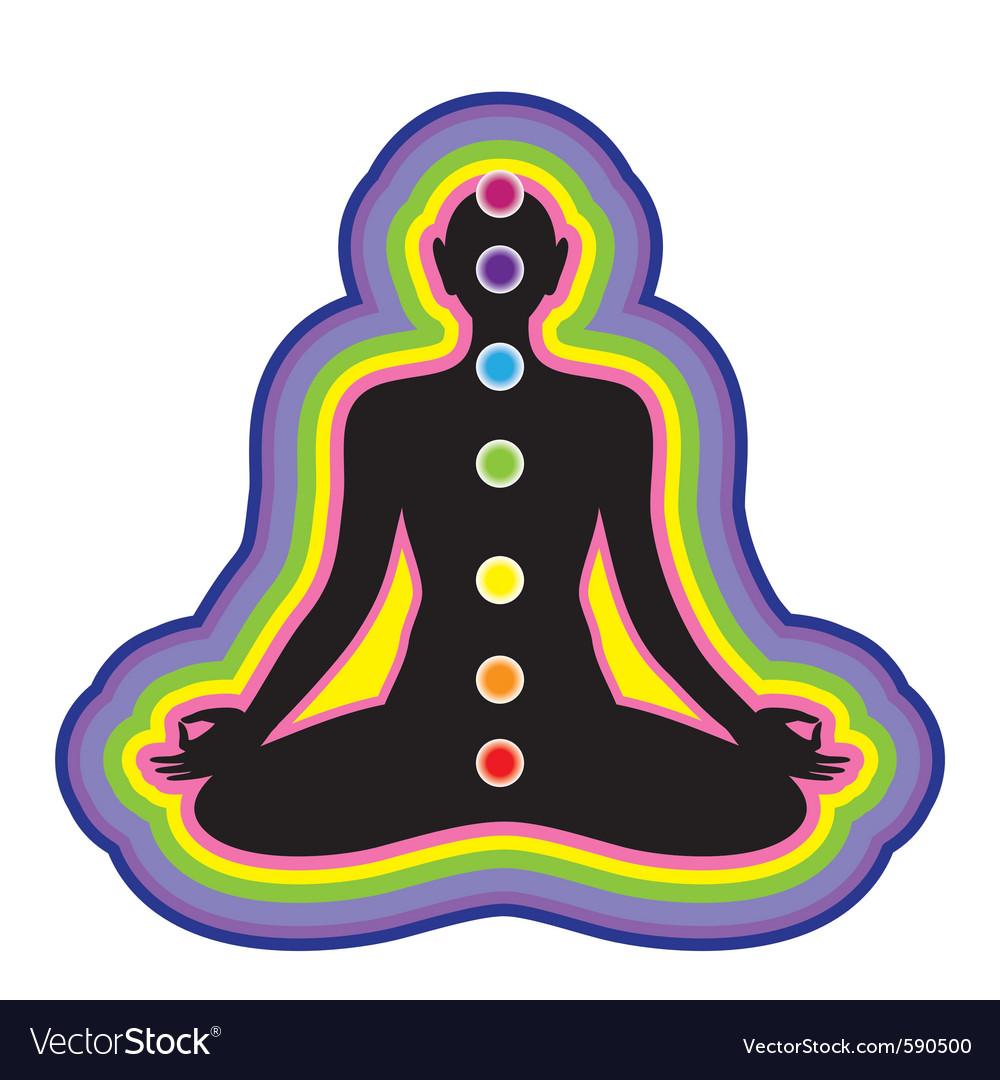 Meditation location of the chakras on the human bo