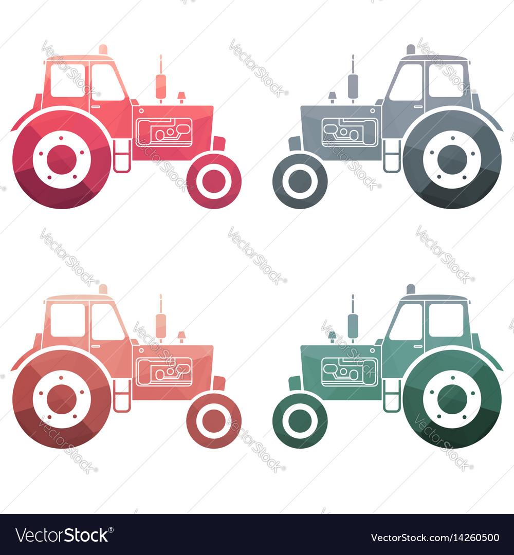 Multicolor tractor icon set