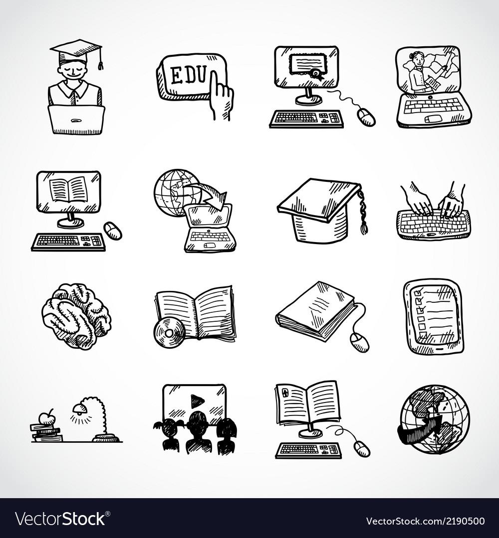 Online education icon sketch Royalty Free Vector Image