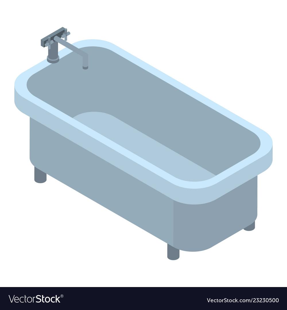 Retro Bathtub Icon Isometric Style