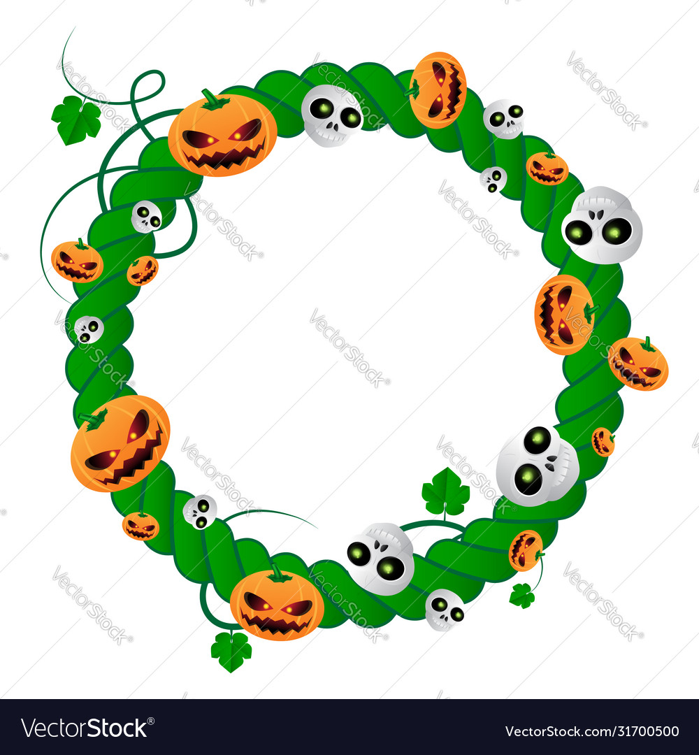Round frame for halloween holiday green plant