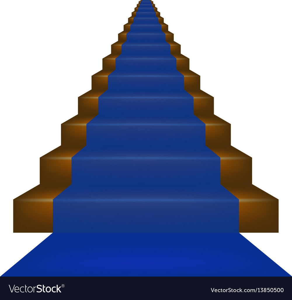 Stairs covered with blue carpet vector image