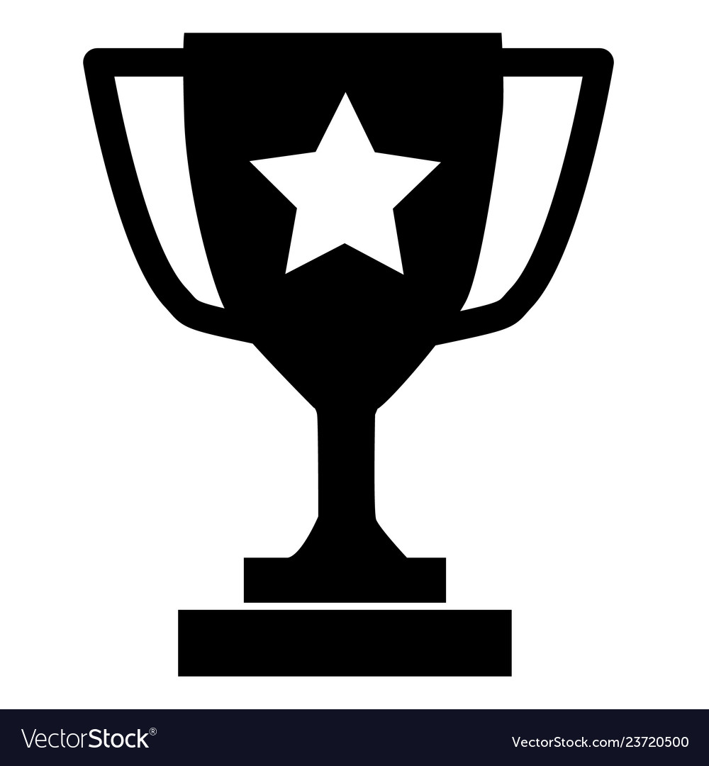 Trophy icon on gray background flat style trophy