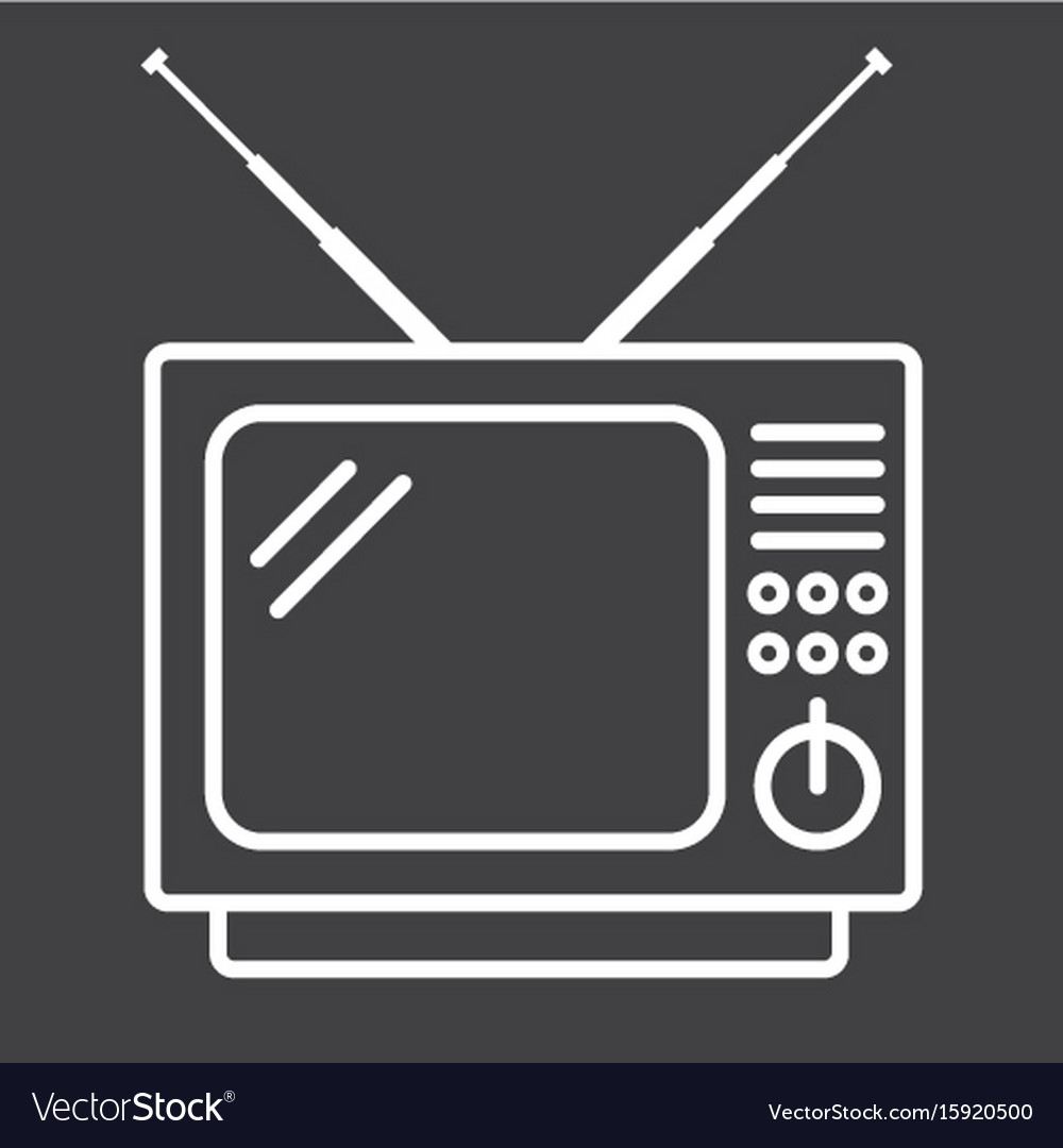Vintage tv line icon household and appliance