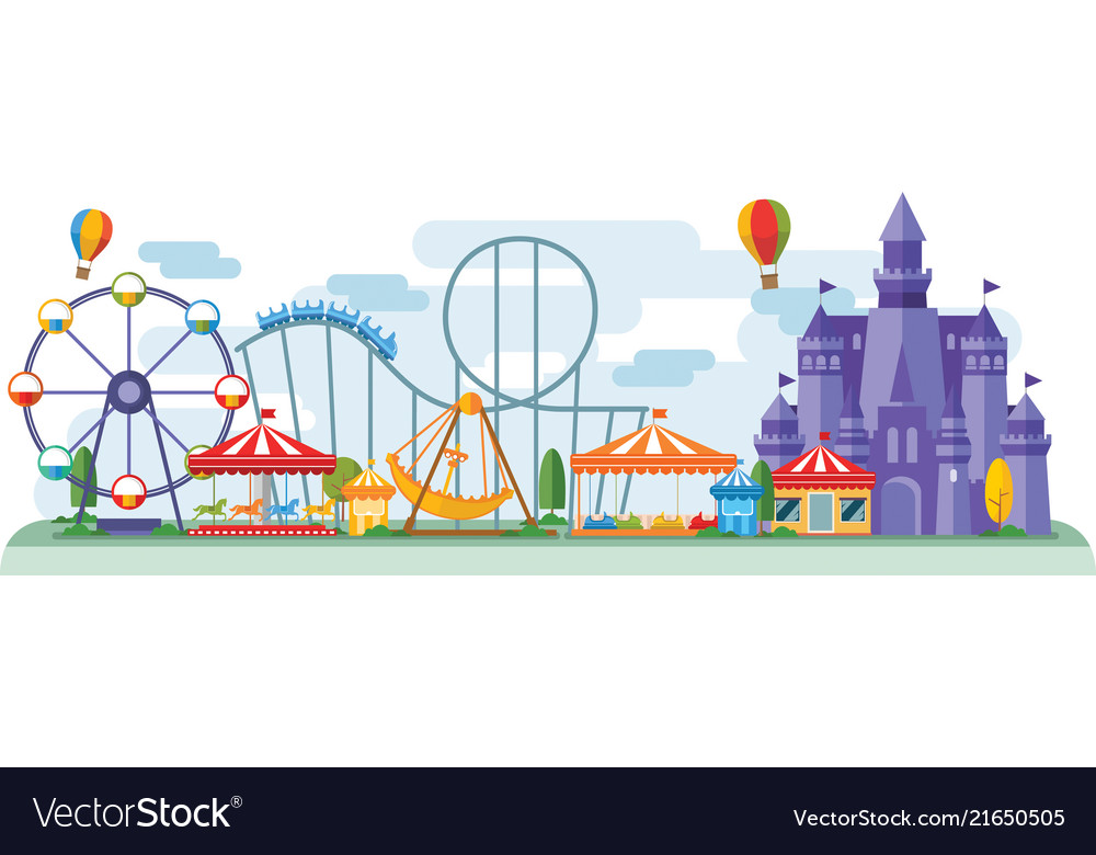 Amusement park in flat colorful style