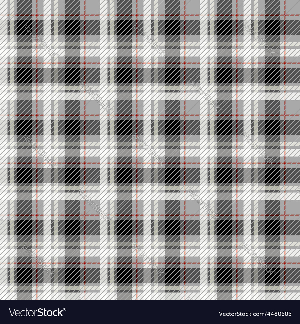 Black and white seamless tartan with a thin red vector image