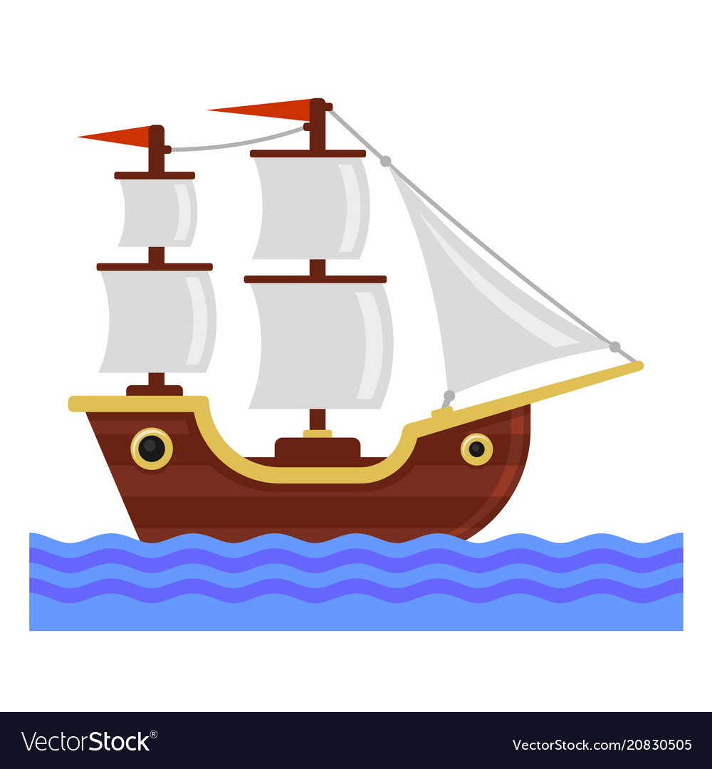 Cartoon ship with white sails flat style