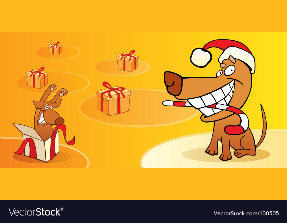 Christmas card with dog Royalty Free Vector Image
