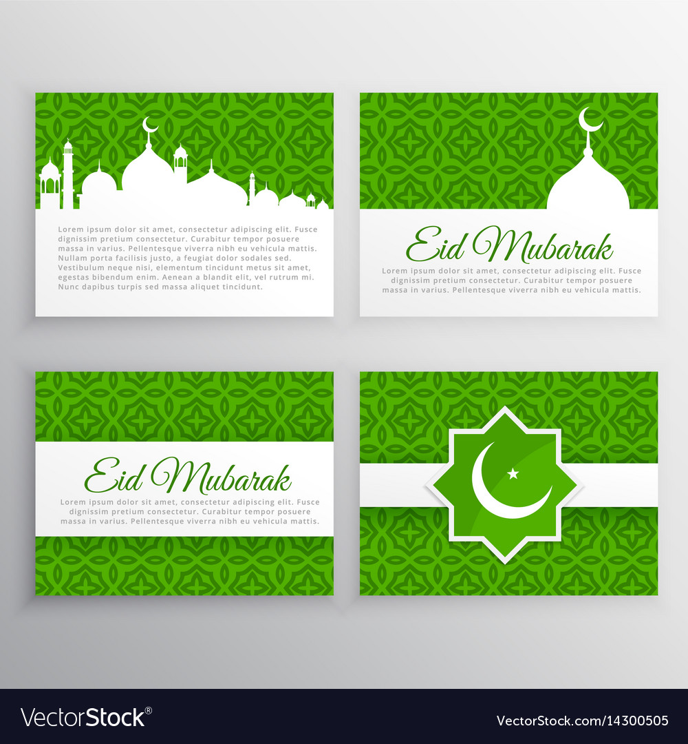 Eid Festival Greeting Cards Set Royalty Free Vector Image
