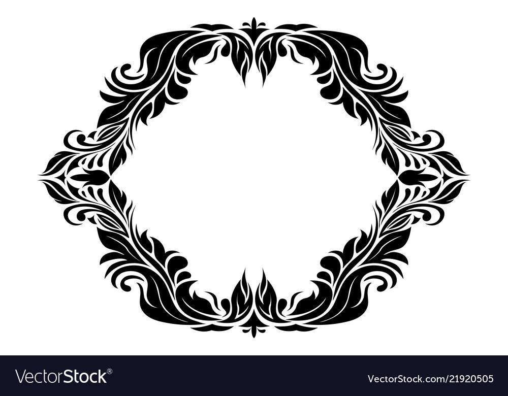 Filigree floral frame ornamental decoration in