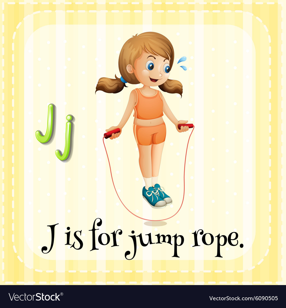 Flashcard letter J is for jump rope vector image