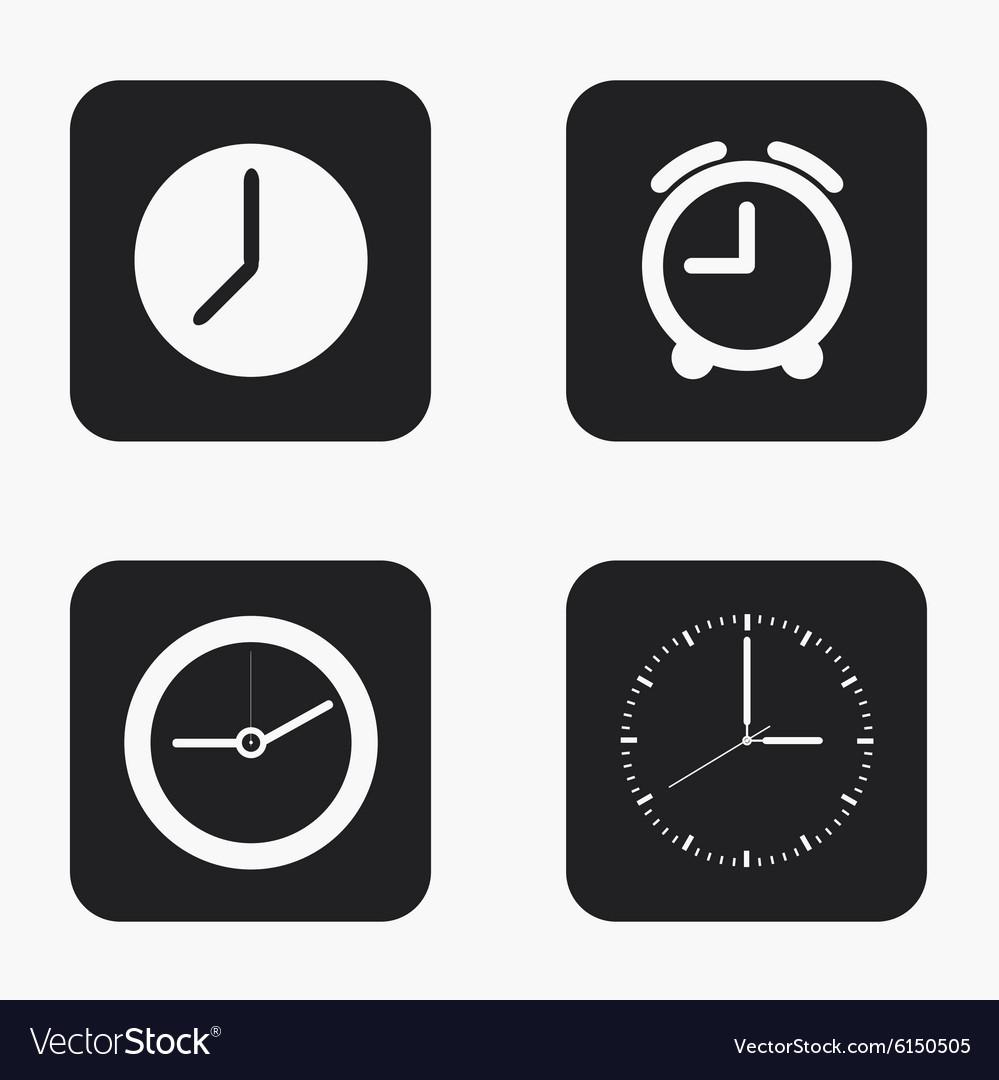 Modern clock icons set vector image
