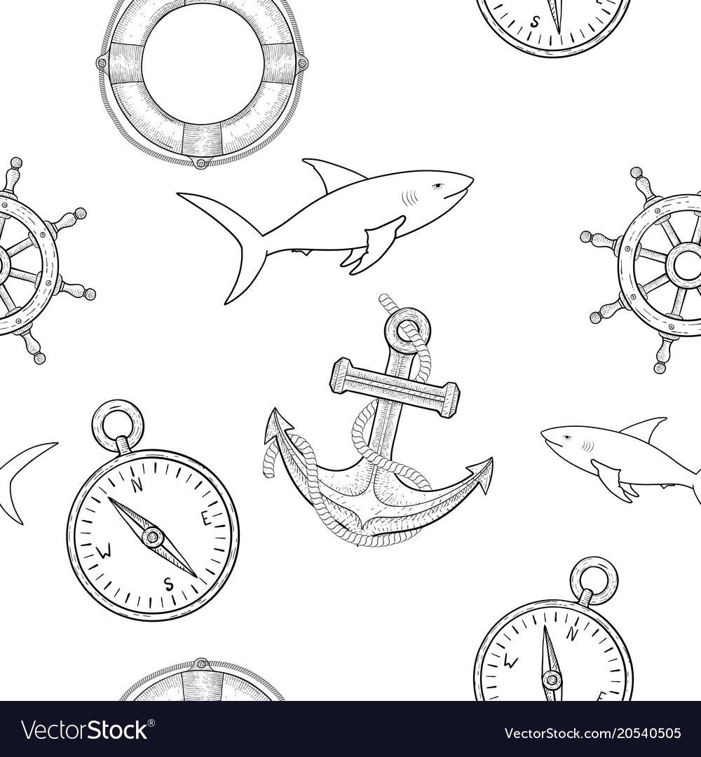 Nautical elements seamless pattern hand drawn