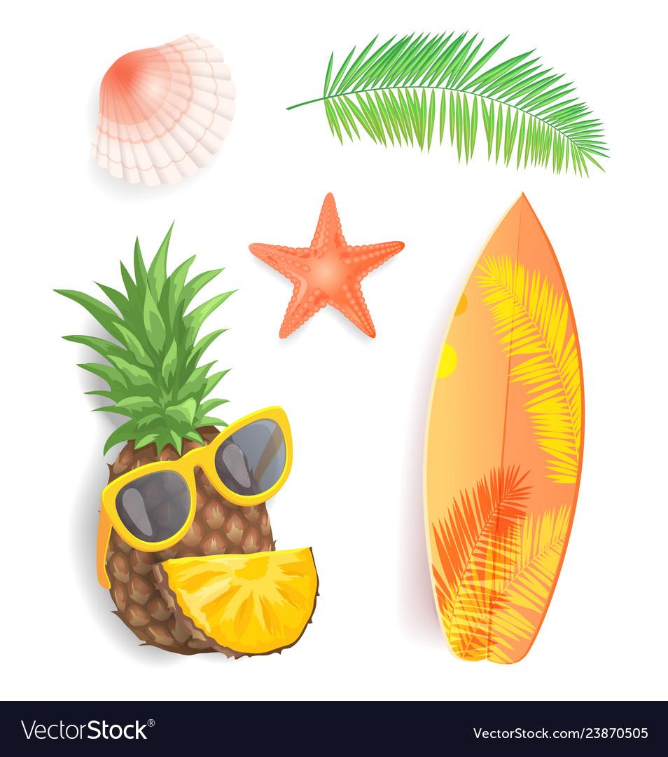 Summer time icons set closeup
