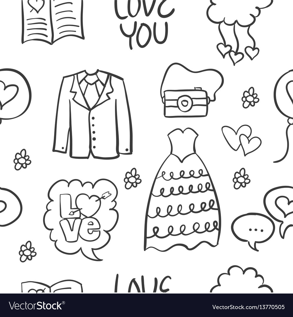 Wedding hand draw style doodles vector image