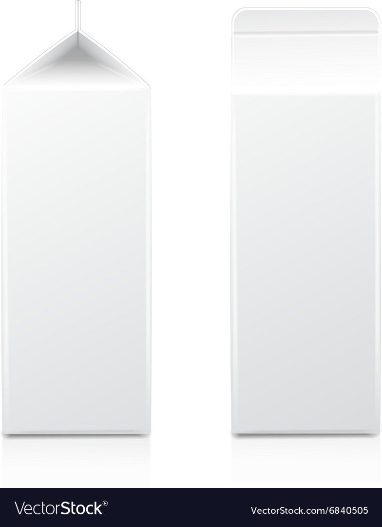White cardboard package for diary products juice